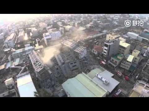 Drone footage: collapsed high-rise building in Tainan after Taiwan quake