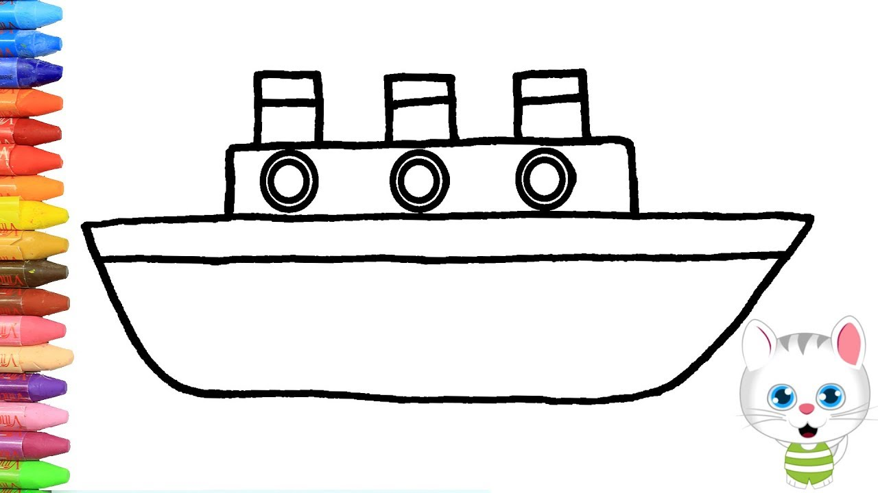 C mo dibujar y colorear barco dibujos para ni os con - Imagenes de barcos infantiles ...