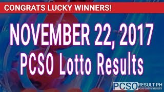 PCSO Lotto Results Today November 22, 2017 (6/55, 6/45, 4D, Swertres & EZ2)