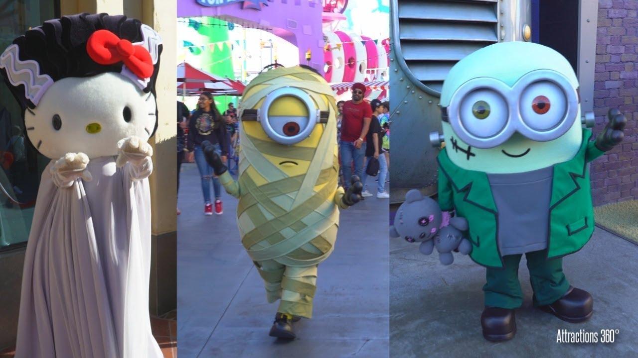Minions Halloween Costume.4k Minions Hello Kitty In Halloween Costume Universal Studios Hollywood