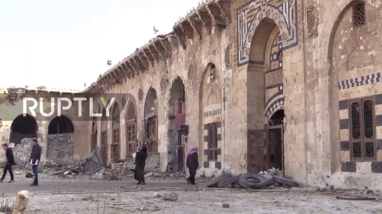 Syria: Rubble that lines UNESCO-listed Umayyad Mosque chronicles battle for  Aleppo