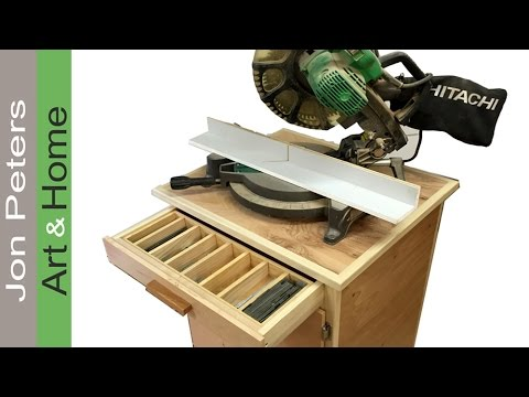 Finished Chop Saw Cabinet with Nail Organizer Drawer