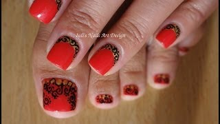 Nail Art Design Reverse French Manicure Clumsy Hand Arabesque Xmas