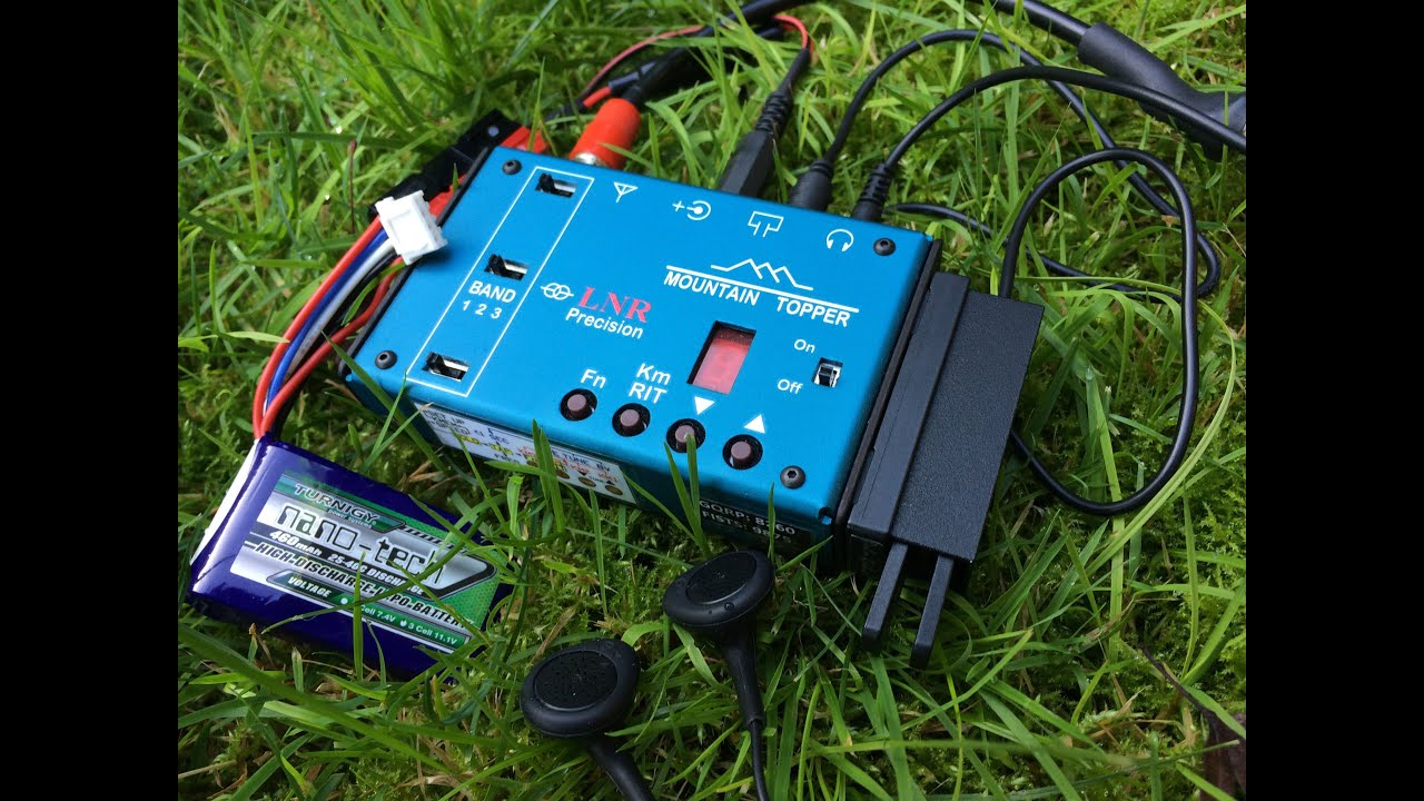 Matchbox size CW transceiver with battery, earphones and key
