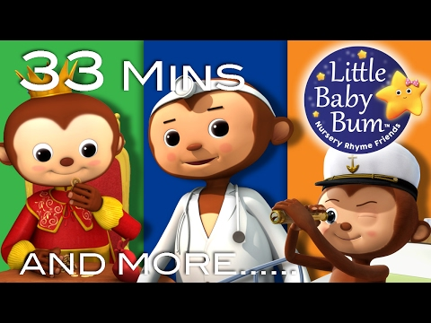 Thumbnail: Five Little Monkeys Jumping On The Bed| Plus Lots More Songs | 33 Mins Compilation by LittleBabyBum!