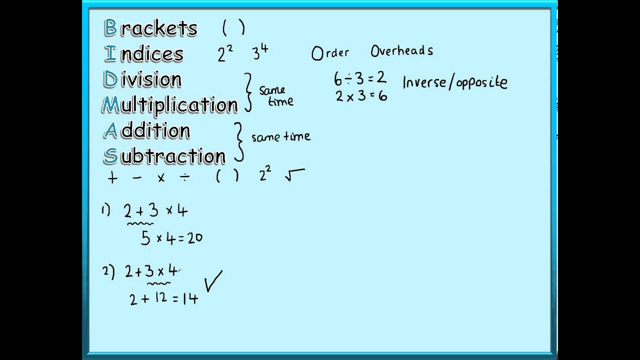 Maths Tutorials - Order of Operations (BIDMAS) - YouTube
