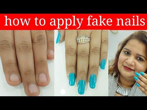 how to apply fake nails at home  in Hindi