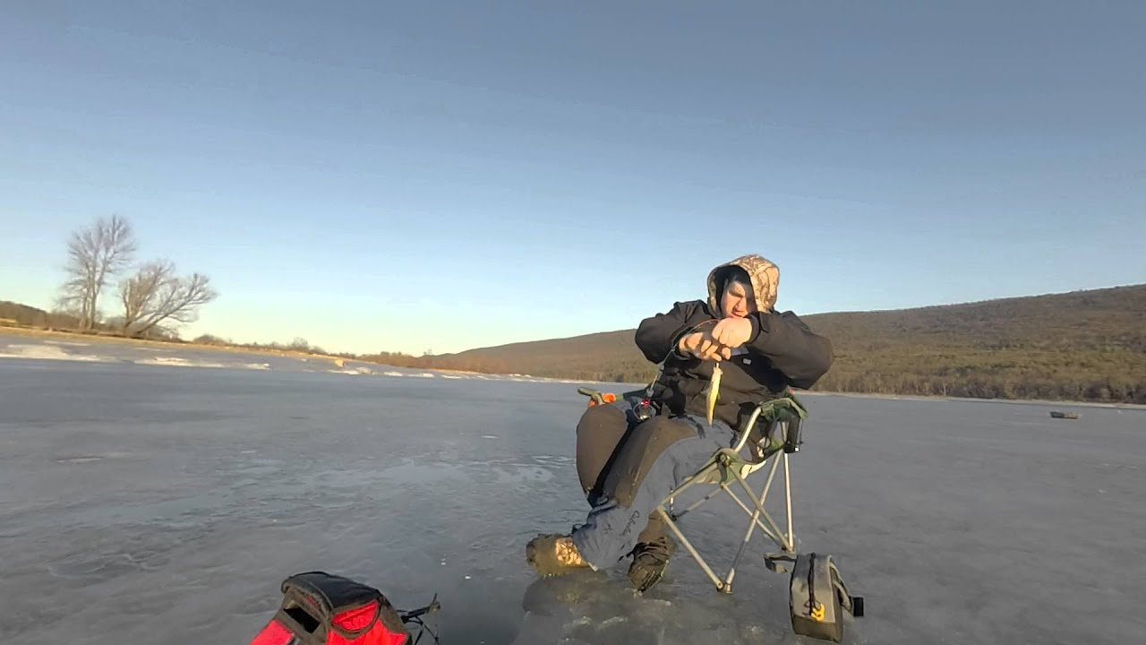 Ice fishing foster joseph sayers dam 02 20 2016 youtube for Pa ice fishing