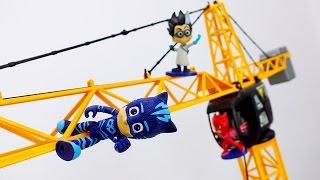 Видео для детей: игрушки Герои в Масках! Ромео захватил город! Кетбой и Гекко на выручку! Папа Тайм.