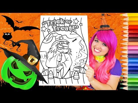 Coloring Halloween Witch Coloring Book Page Prismacolor Colored Pencils | KiMMi THE CLOWN
