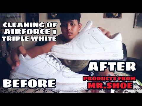 CLEANING MY AIR FORCE 1 TRIPLE WHITE | CLEANING PRODUCTS FROM MR.SHOE | BEFORE AND AFTER