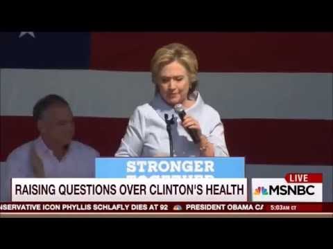 Hillary Clinton Coughs Up Strange Green Substance Into Water During Cleveland Rally
