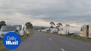 Travellers get ready for the Appleby Horse Fair and set up camp
