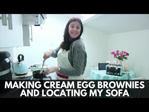 MAKING CREAM EGG BROWNIES AND LOCATING MY SOFA!!!