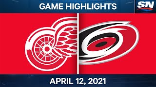NHL Game Highlights | Red Wings vs. Hurricanes - Apr. 12, 2021