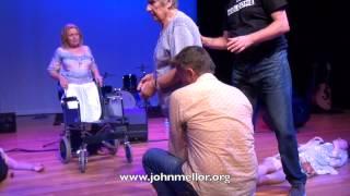 Italian lady suffering arthritis in wheelchair improves after prayer - John Mellor Healing Ministry