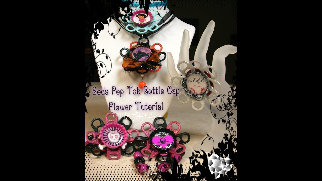 Recycled jewelry how to make a soda pop tab flower for How to make bottle cap flowers