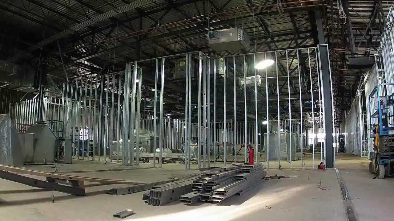steel stud wall framing construction hd time lapse youtube - Metal Wall Framing