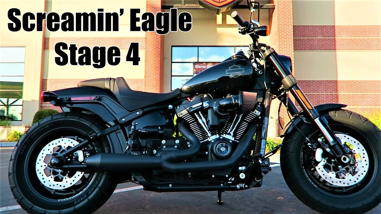 fat bob with screamin eagle stage 4 kit and two brothers racing exhaust