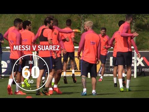 Messi v Suarez - Barcelona Duo Show Off Their Silky Skills At England HQ