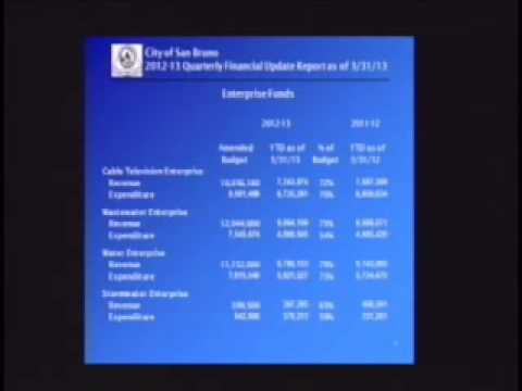 San Bruno City Council Meeting April 23, 2013 10c. Quarterly Financial Report