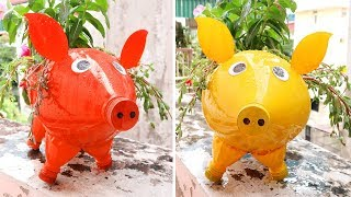 Make a Pig Plant Pot, Cute DIY Pig From Plastic Bottle For Your Garden