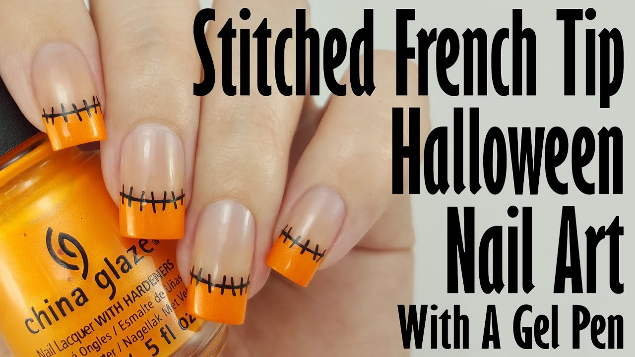 Easy Halloween Nail Art: Stitched French Tips - YouTube