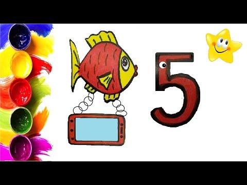 Раскраска для детей ЦИФРЫ, РЫБКА, ТЕЛЕФОН.  Мультик - Раскраска. Учим цвета.  Стихи для детей.