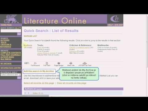 Literature Online - I. část