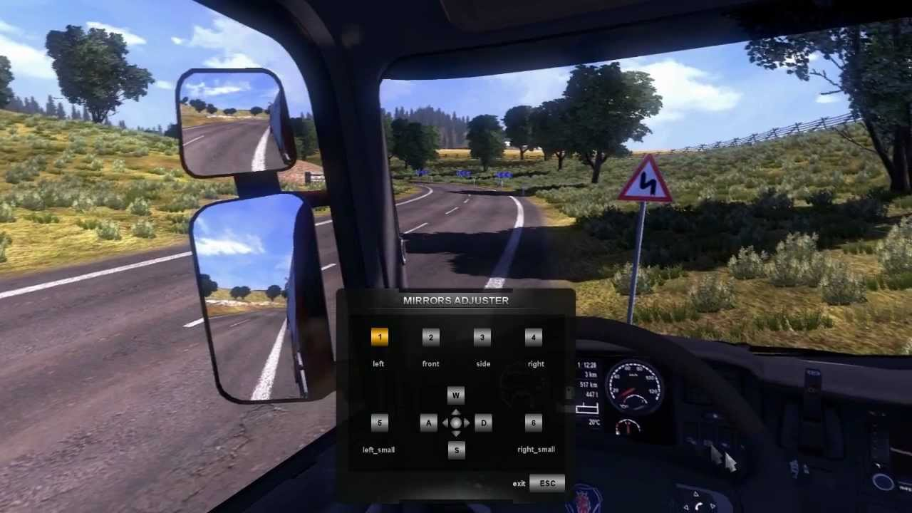 Adjusting mirrors in ETS2 - YouTube