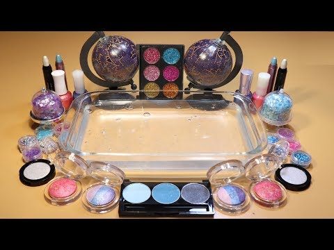 """Special Theme Series #3""""GALAXY""""Mixing EYESHADOW And glitter Into Clear Slime! """"Galaxy Silme"""""""
