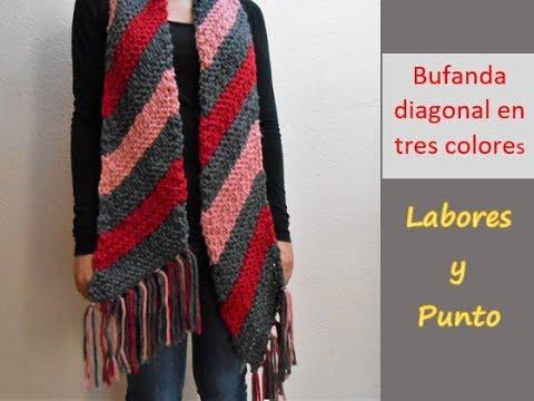 mejor elección diseño superior predominante Como tejer una bufanda especial, de 3 colores en dos agujas