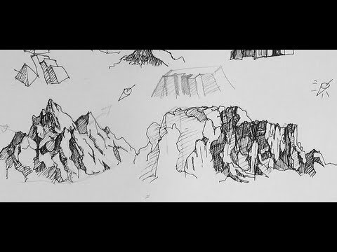 Pen Ink Drawing Tutorials How To To Draw Mountains Youtube
