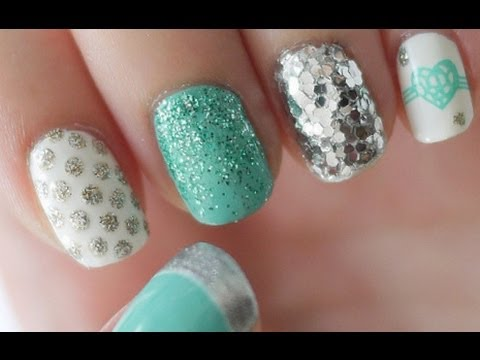 Tiffany Blue & Silver Nail Tutorial (Konad Stamping) - Tiffany Blue & Silver Nail Tutorial (Konad Stamping) - YouTube