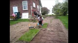 How to make a garden Sod Cutting with a sod Cutter Landscaping Use a tiller