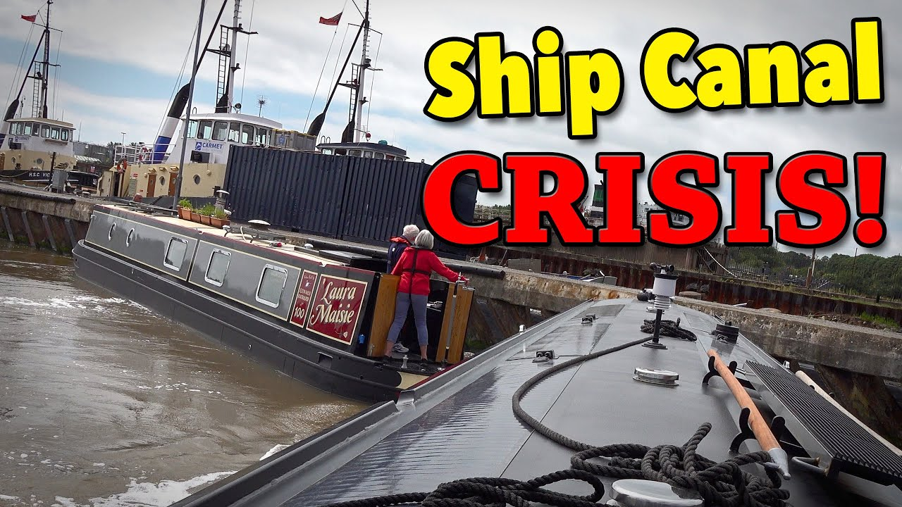 Narrowboat OUT OF CONTROL on Mersey Crossing!