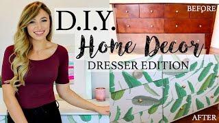 D.I.Y. HOME DECOR | HOW TO REDO A DRESSER WITH WALLPAPER | Alexandra Beuter