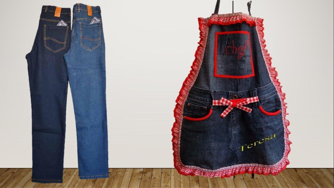 2c3f2d98f حولي بنطلون جينز قديم لمريلة مطبخ// اعادة تدوير الجينز مع حنان جمعه ...