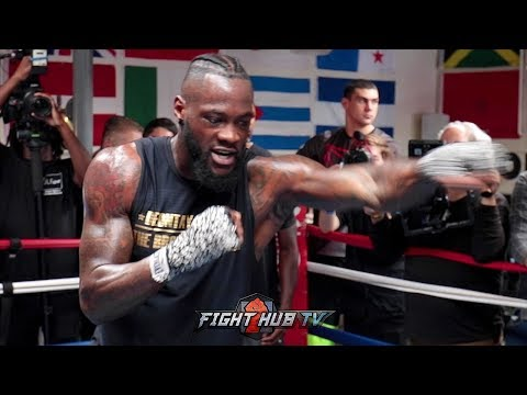 DEONTAY WILDER SHOWS OFF SURPRISINGLY FAST HANDS SHADOW BOXING AS HE PREPARES FOR TYSON FURY