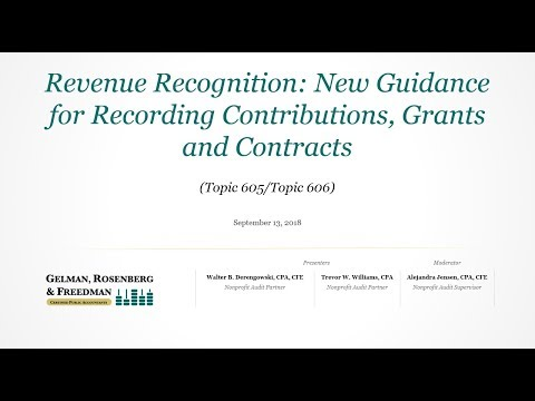 Revenue Recognition  New Guidance for Recording Contributions, Grants and Contracts Topic 605 Topic