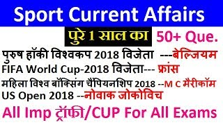 ट्रॉफी/Cup & SPORT Current Affairs पुरे 1 साल का Current Affairs For ALP, UP POLICE ,Bank Clerk