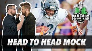 Fantasy Football 2018 - Live Head-to-Head MOCK Draft + HOF Game Takeaways - Ep. #577