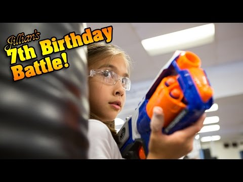 Jillian's 7th Birthday Battle! KARATE KICKS, PUNCHES & NERF WAR!