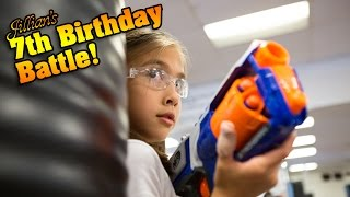 Repeat youtube video Jillian's 7th Birthday Battle! KARATE KICKS, PUNCHES & NERF WAR!