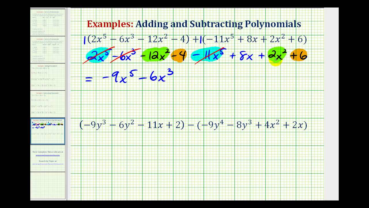 hight resolution of Adding And Subtracting Polynomials (video lessons