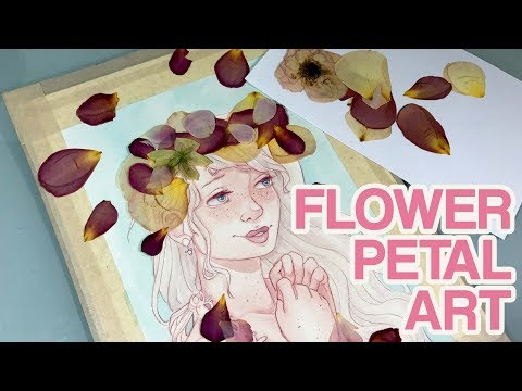 Using Pressed Flower Petals in a Painting | Watercolor Speedpaint