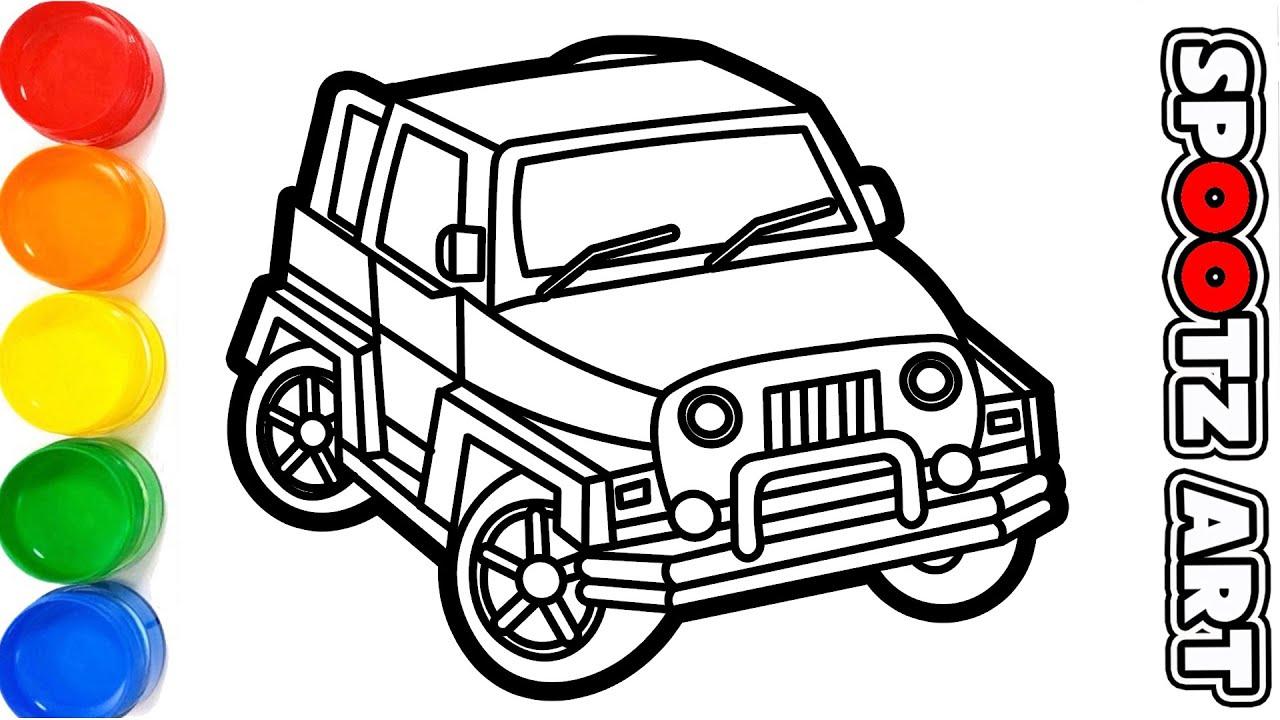 Cara Menggambar Mobil Jeep Sketsa Youtube