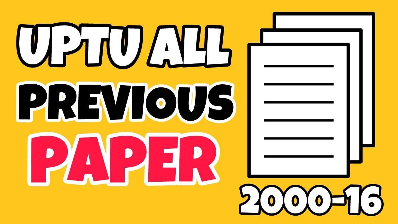 Uptu Previous Year Paper Pdf