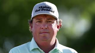 Jason Dufner wears a hat that says Saints got robbed at Zurich Classic