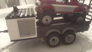 Lego excursion vehicle - truck camper with car hauler and bronco truck.